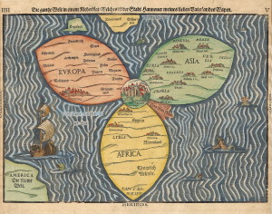 A stylized map of the world with Jerusalem at its center. Jews accord Jerusalem as the holiest of cities. Original woodcut by Bunting