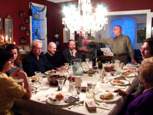 "A Jewish family celebrates the Passover with a Seder dinner. The evening included a reading, ""Why is this night different from all other night?"" from the Haggadah, and Hebrew singing. Creative commons image by Jennie Faber"