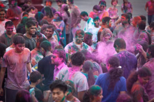 People of all ages celebrate Holi, the Festival of Colors, at the Hindu Temple & Cultural Center of Kansas City on March 30, 2013. RNS photo by Sally Morrow
