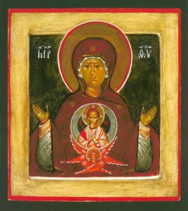 A Theotokos icon, painted by Leonid Ouspensky, hangs in St. Gregory of Sinai Monastery in Kelseyville, Calif. Creative commons image by Jim Forest
