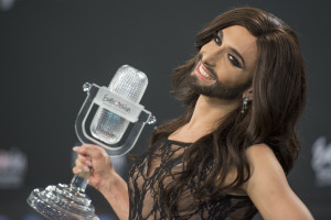 Conchita Wurst, winner of the Eurovision Song Contest 2014, during the winner's press conference. Creative commons image by Albin Olsson